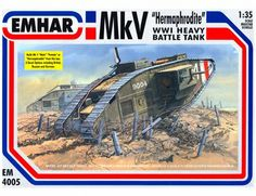 The Emhar 1/35 Mk.V Hermaphrodite Heavy Tank plastic tank model accurately recreates the real life British tank from World War I. This plastic tank kit requires paint and glue to complete.