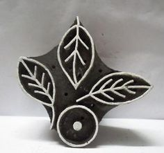 Indian Wooden Hand Carved Textile Printing on Fabric Block Stamp Unique Leaf Art | eBay