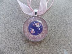 Pink Cord and Ribbon Necklace with Silver Bezel -- Pink Glitter and Cherry Blossoms