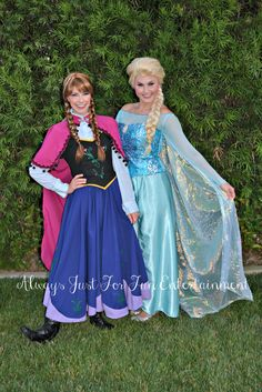 Frozen's Princess Anna and Queen Elsa! Call to book the sisters today for your child's birthday party! Alwaysjustforfun.com Princess / Frozen Birthday Party party characters Inland Empire, Orange County, LA County, Southern California