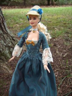 """""""Manor Lady"""" 1770's Rococo Marie Antoinette Period Repainted/Hair Restyled Barbie Doll and Costume - by Morgan May @ Stardust Dolls - http://www.stardustdolls.com"""