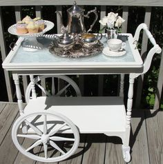 tea cart tea party - attach a large frame with handles to use as a removeable tray vb Tea Trolley, Tea Cart, Bar Furniture, Painted Furniture, Coffee Carts, Shabby Chic Kitchen, Tea Service, Vintage Tea, High Tea