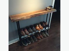 handmade entrance table | selling a custom handmade live-edge entryway table, with built-in ...