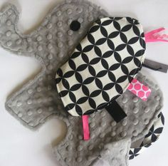 Neon Pink and Gray Elephant Sensory toy
