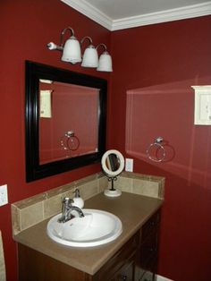 I Love The Colors In This Bathroom Ve Always Wanted A Red And Black Accents Are Gorgeous Ll Have To Show My Husband See What