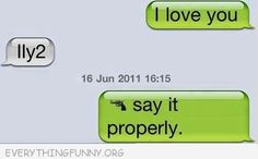 funny text message lly2 say it properly with gun