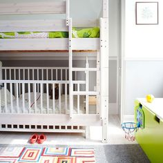 Practical child's bedroom An adapted bunk bed maximises space in this boy's bedroom, while two contrasting patterned rugs provide adequate soundproofing.