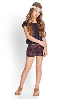 Tribal Print Woven Shorts (Kids) | FOREVER21 girls - 2000087773