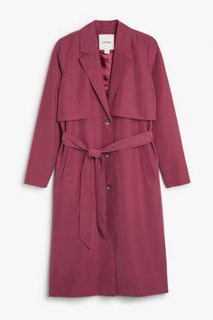 Monki Image 1 of Lightweight trench coat in Red Bluish Dark