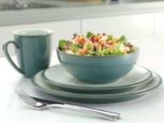 Everyday Teal 4 Piece Dinner Set Was £26.00 | Now £20.80 http://tidd.ly/701dc19c