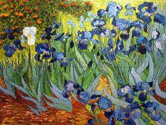 """Irises"" - Vincent Van Gogh. $247 USD. 30""h x 40""w (75x100cm). To shop this oil painting click here: http://globalwholesaleart.com/irises-p-1950.html"