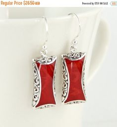 SALE Sterling Silver, Red Coral Earrings, Small Rectangle by LoveBaliJewelry on Etsy https://www.etsy.com/listing/286387765/sale-sterling-silver-red-coral-earrings
