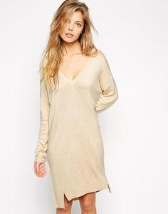 ASOS+Jumper+Dress+With+V-Neck+in+Fine+Knit