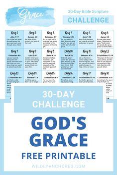 FREE-30-Day-God's-Grace-Scripture-Challenge-Printable-(1) Greek Word For Grace, Greek Words, How To Be Graceful, Bible Study For Kids, Study Methods, Hebrew Words, Scripture Wall Art, God's Grace, Bible Journal