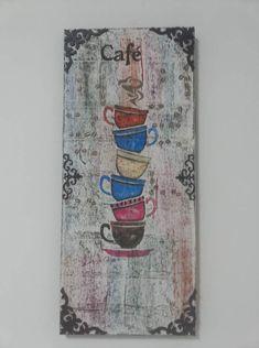 Mixed Media Techniques, Cafe Bar, Altered Art, Wood, Shelves, Wooden Crafts, Frames, Ideas, Pintura
