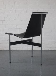 William Katavolos, Douglas Kelly and Ross Littel; Chromed and Enameled Metal and Leather 'T' Chair by ICF, 1952.