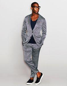 Tinie Tempah wearing a seersucker silk jacket and trousers by #GiorgioArmani.