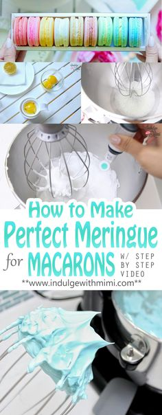 Most macaron problems comes from a poorly prepared meringue. Video and tutorial showing you how to prepare the perfect meringue for macarons.