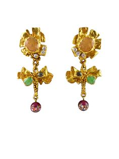 "CHRISTIAN LACROIX * Gorgeous vintage jeweled dangling earrings ""Flower"""