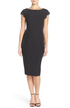 6ae75557 Maggy London Lace Detail Crepe Sheath Dress (Regular & Petite) | Nordstrom.  Lace DetailPetite Cocktail DressesBlack ...