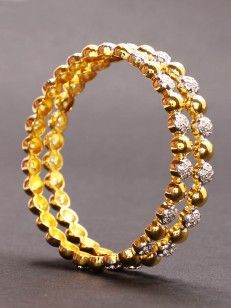 Golden Bangle with Cz Stone - Buy Golden Bangle with Cz Stone Online