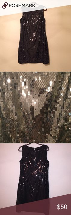 Black Tahari Sequined dress! Side zipper. Key hole button back. In great condition and well kept. Tahari Dresses Midi