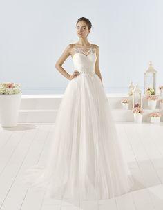 Yokel - Beaded tulle dress, in natural/nude.
