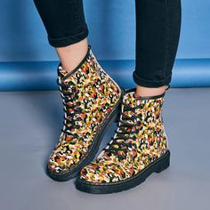 Colorful Camouflage Flat Waterproof Lace Up Ankle Martin Boots - Gchoic.com #shoes #women #popular #fashion #discount #cheap #want Pinterest