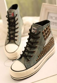 Rivets Concealed Wedge Heel Lace Up High Top Sneaker
