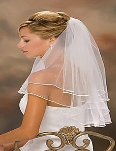 Two Layer Wedding Dress Veil With Bead Ribbon Edge More Colors