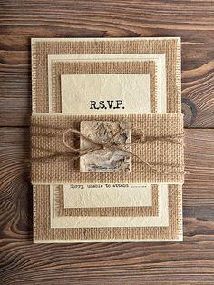 Natural Birch Bark Wedding Invitation, County Style Wedding Invitations, Rustic Wedding Invitations on Etsy, $4.50