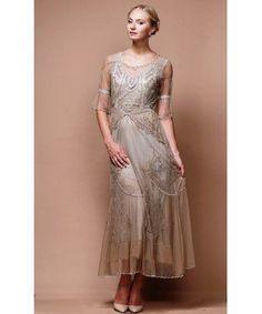 Edwardian Vintage Inspired Wedding Dress in Sand/Silver by Nataya