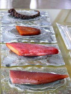Mesa de salazones: pulpo seco, huevas de maruca, huevas de mújol, y bonito. Quique Dacosta Restaurante