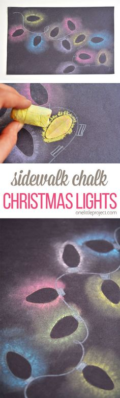 Sidewalk Chalk Christmas Lights These stenciled sidewalk chalk Christmas lights are so easy to make, and the effect is SO COOL! It looks just like the light bulbs are glowing in the dark!These stenciled sidewalk chalk Christmas lights are so easy to make, Christmas In July, Christmas Art, All Things Christmas, Winter Christmas, Christmas Lights, Christmas Countdown, Holiday Crafts, Holiday Fun, Holiday Ideas