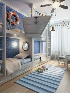 Rustic Italian Decor Bedroom: Nautical Room Design Ideas For Your Kid Cool Kids Rooms, Cool Boys Room, Creative Kids Rooms, Bunk Rooms, Cool Boys Bedrooms, Boys Bedroom Ideas With Bunk Beds, Little Boy Bedroom Ideas, Little Boys Rooms, Beach Bedrooms