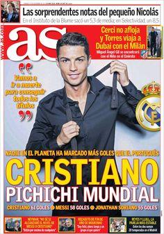 Portada 27 de diciembre de 2014, diario As. Cristiano Ronaldo