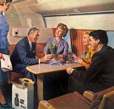 While smoking is definitely out, could one even board most modern flights with fresh fruit any more? #vintage #airline #travel #plane #hostess #stewardess #flight #attendant