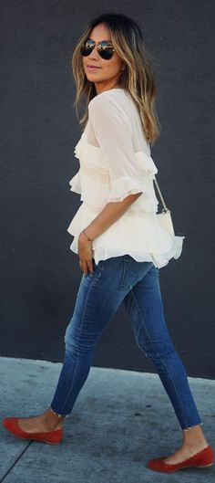 REBECCA TAYLOR 'Mosaic' Fil coupe top HUDSON JEANS 'Krista' crop jeans CHLOE 'Lauren' Scalloped flats