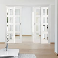 Coventry Shaker Staffetta Quad Telescopic Pocket Doors - Clear Glass - - October 27 2019 at Glass Room Divider, Room Divider Doors, Diy Room Divider, Door Dividers, Sliding Room Dividers, Sliding Doors, Entry Doors, Exterior Doors, Patio Doors