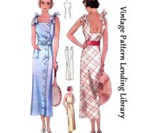 1930s Ladies Evening Gown With Train by VintagePatternGirl