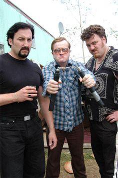 John Paul Tremblay, Mark Smith, and Robb Wells as Julian, Bubbles, and Ricky in Trailer Park Boys: The Movie.
