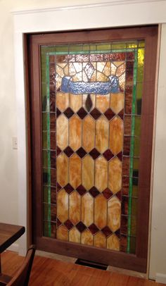 My Husband Installed Almost This Beautiful Stained Glass Pocket Door Between The Kitchen And Dining Room It Was An Auction Find Originally From A