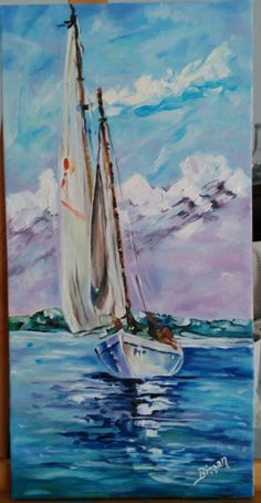 Röprodüksiyon çalışmam Simple Oil Painting, Simple Acrylic Paintings, Acrylic Painting Techniques, Blue Painting, Lighthouse Painting, Sailboat Painting, Watercolor Pictures, Watercolor Paintings, Boat Art