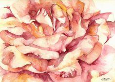10% Fall Sale Original Watercolor Full Bloom by watercolorwork