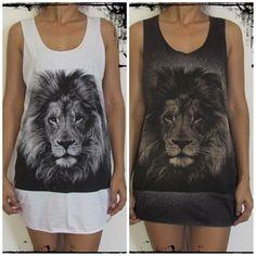 Lion Tiger Leopard Mens Womens Ladies Vest Tank-Top Singlet Dress T-Shirt
