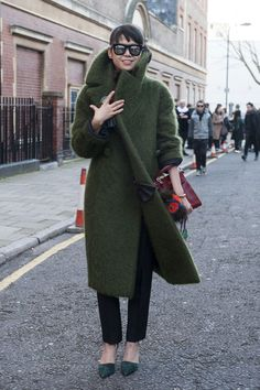 The Most Standout #StreetStyle at #LFW Fall 2014 // green coat