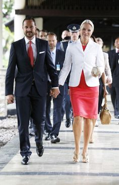 Crown Prince Haakon and Crown Princess Mette-Marit of Norway during an official 3-day visit to Indonesia