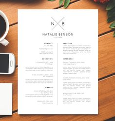 Modern Resume Template and Cover Letter Template for Word, Resume Icons, Resume Design, Creative Resume, Free Resume Template, Natalie