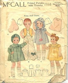 "ORIGINAL RARE McCALL #1918 ~ 14"" PATSY DOLL CLOTHES PATTERN c1930"