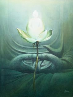 """""""The mindful ones exert themselves. They are not attached to any home; like swans that abandon the lake, they leave behind, home after home."""" ~ The Buddha, Dhammapada, V 91 Art by:Amit Bhar ♥ lis Budha Painting, Krishna Painting, Artist Painting, Art Buddha, Buddha Zen, Buddha Garden, Buddhist Art, Indian Paintings, Abstract Watercolor"""